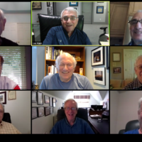"Meeting on Zoom instead of in person for their ""chevrah diner"" are top row: Cary Rosenthal, Lee Katz and Stew Aaron; center: Jeff Priluck, George Fox and Ray Risner; and bottom: George Richfield, Alan Granath and Doug Berlin."