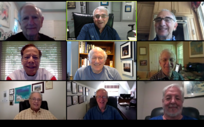 """Meeting on Zoom instead of in person for their """"chevrah diner"""" are top row: Cary Rosenthal, Lee Katz and Stew Aaron; center: Jeff Priluck, George Fox and Ray Risner; and bottom: George Richfield, Alan Granath and Doug Berlin."""