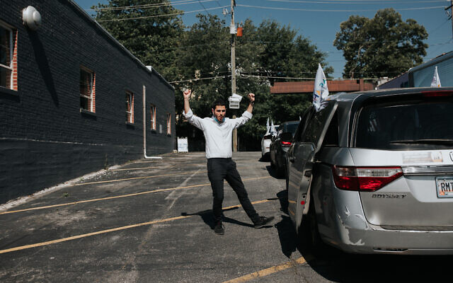 Rabbi Leivy Lapidus was in a dancing mood.