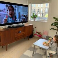 Taymanova's granddaughter Mila in London talking with her best friend in Atlanta.