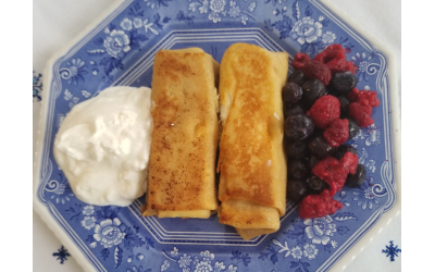 Two blintzes side by side resemble The Ten Commandments' tablets.