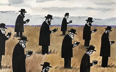 "Zoya Cherkassky's ""An Open Air Minyan"" (2020), depicting men gathered for prayer with the requisite social distancing, is in a virtual exhibition at fortgansevoort.com.Credit...Zoya Cherkassky and Fort Gansevoort"