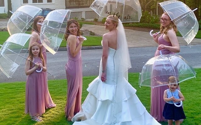 The bride with her wedding party.