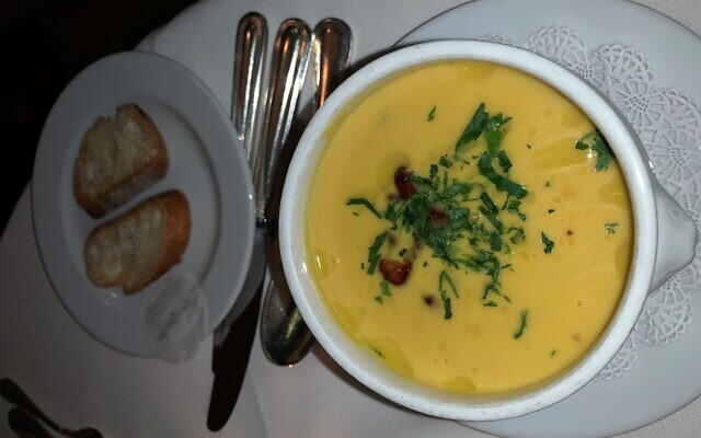 The butternut squash soup was velvety and plentiful.
