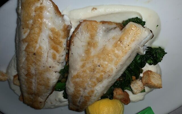 The Duarade poisson entree over cauliflower purée was accented by almonds and capers over crunchy rapini.