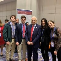 Will Stanwick, Austin Margol, and Amit Rau from The Weber School's AIPAC delegation with Ambassador David Friedman at the 2020 AIPAC Policy Conference.