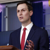 White House adviser Jared Kushner speaks about the coronavirus in the James Brady Press Briefing Room of the White House, Thursday, April 2, 2020, in Washington. (AP Photo/Alex Brandon)