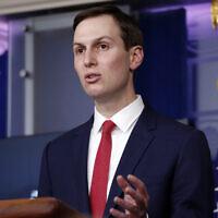 White House adviser Jared Kushner speaks about the coronavirus in the James Brady Press Briefing Room of the White House, Thursday, April 2, 2020, in Washington. (AP Photo/Alex Brandon)