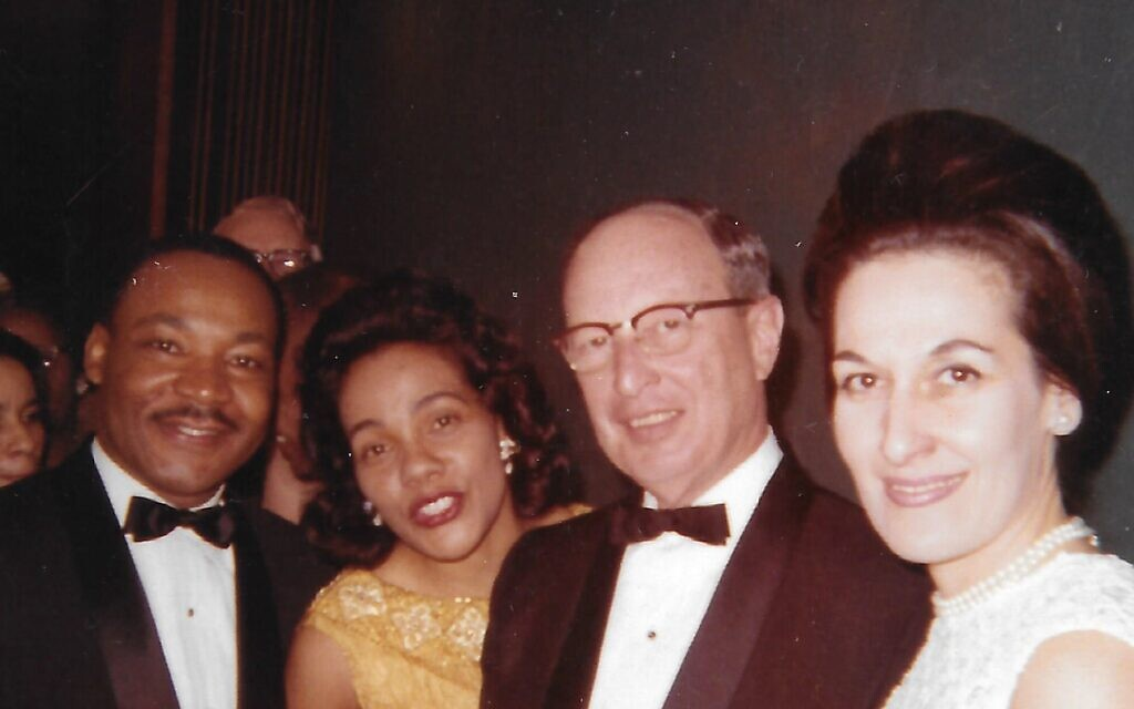 Photo courtesy of Bill Rothschild and the William Breman Jewish Heritage Museum// Martin Luther King Jr. and Coretta Scott King with Rabbi Jacob Rothschild and Janice Rothschild at the January 1965 dinner in Atlanta honoring King's receiving the 1964 Nobel Peace Prize.