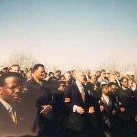 Johnson took this photo at the 35th anniversary of the Bloody Sunday March in Selma, Ala., at which he was a marshal while serving as executive assistant to Martin King III and driver to God-uncle Dr. Joseph Lowery at the SCLC. From left, Lowery, Rev. James Orange, Congressman John Lewis, Rev. Jesse Jackson, King, Rev. Hosea Williams, Rev. C.T. Vivian and Rev. E. Randel T. Osburn.