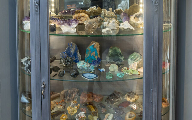 Lindsay's family collected the minerals from all over the world in this antique curio.