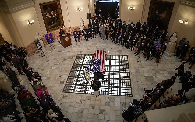 The casket of John Lewis lays in the rotunda of the Georgia state capitol for a lying in state ceremony on July 29th in Atlanta, Georgia.// Nathan Posner AJT