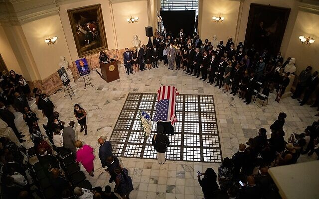 The casket of John Lewis lays in the rotunda of the Georgia state capitol for a lying in state ceremony on July 29th in Atlanta, Georgia. // Nathan Posner AJT