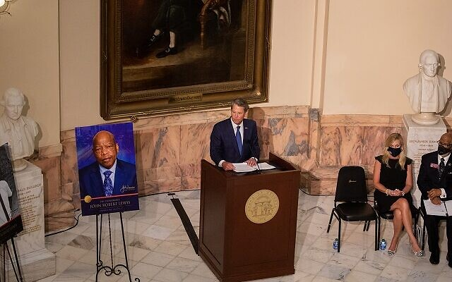 Governor Brian Kemp speaks as the late John Lewis lays in state at the Georgia state capitol in Atlanta, Georgia on July 29th. // Nathan Posner AJT