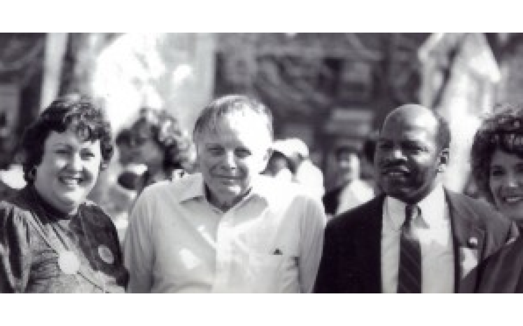 Sherry Frank, Cecil Alexander, John Lewis and Elaine Alexander at the Edmund Pettus Bridge in Selma, Ala., prior to historic 20th Anniversary March in 1985.