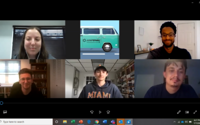 Screenshot from University of Miami virtual road trip: From top left, Jessica Schwartzman, JumpSpark engagement coordinator, with Charles Cammack, college admissions. Bottom row, from left, students Ronen Pink and Ethan Hartz with Igor Khokhlov, executive director of University of Miami's Hillel.