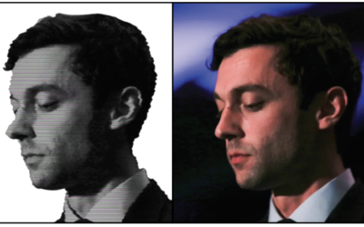 Left: Jon Ossoff's image portrayed in Perdue campaign Facebook ad. Right: Jon Ossoff photo published in 2017 by Reuters.