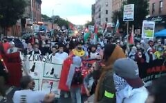 Pro-Palestinian protesters in a 'Day or Rage' protests in Brooklyn, New York, July 1, 2020 (video screenshot)
