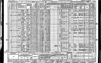 1940 census records for my great grandparents. (1940 US Federal Population Census, public domain)
