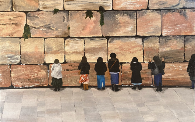"""7 Women – Evening Prayer"" (16-by-20 inches) by Adrienne Zinn depicts the bond of humanity and history of the Western Wall as its colors change with the light of day."