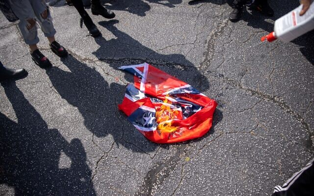 Counter-protesters burn a Confederate flag.// Nathan Posner of AJT