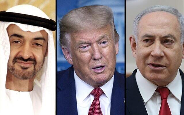 EPA, AP, Alex Kolomoisky/Ynetnews // UAE Crown Prince Mohammed bin Zayed al Nahyan, U.S. President Donald Trump and Israeli Prime Minister Benjamin Netanayahu.