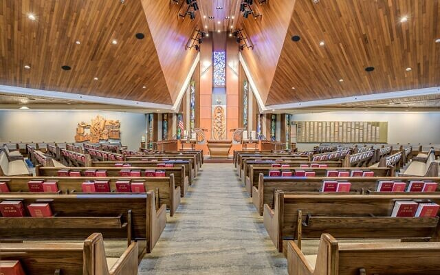 The remake of the Etz Chaim sanctuary includes stained glass windows depicting Shabbat and the Jewish holidays.