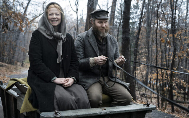 Sarah Snook with Seth Rogen in 'An American Pickle.' (Courtesy HBO)