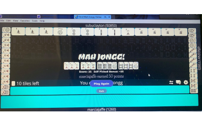 Example of a real mahjong online game.