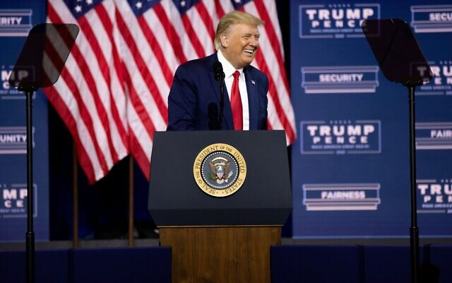 President Trump smiles while speaking at the rally for him Friday, Sept. 25. // Nathan Posner for the AJT.