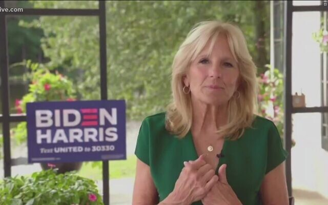 Jill Biden participates in a virtual town hall with the families of Georgia veterans, talking about military issues. // Zoom Screenshot