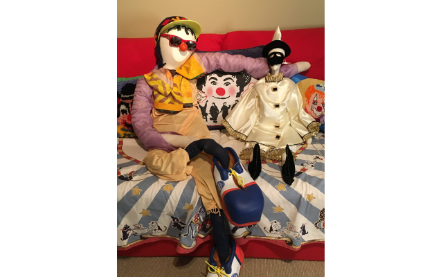 V. E. Fintz made this big clown herself, using the shoes her nephew bought her. The marionette was handcrafted by a close friend, and the pillow between the two was made by her sister from a classic Ringling T-shirt.