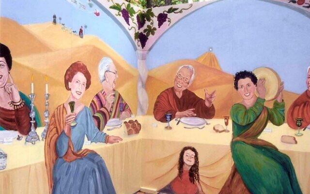 Miriam Karp's heirloom sukkah depicts family members she painted as honored guests.