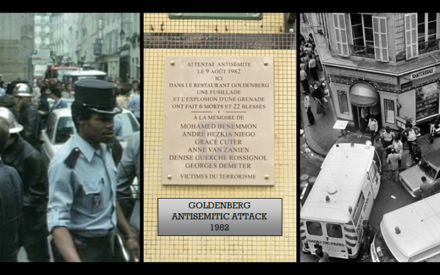Photos of Chez Jo Goldenberg restaurant during the 1982 attack and the plaque commemorating the event.
