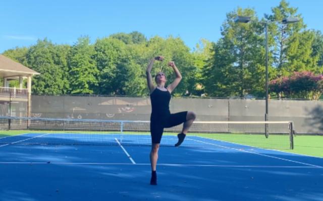 Lewyn performed her segment on a tennis court.