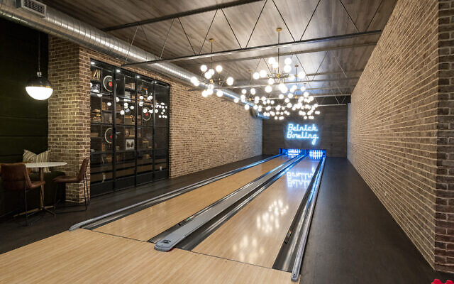 The full-size Belnick bowling alley is on the lower level.