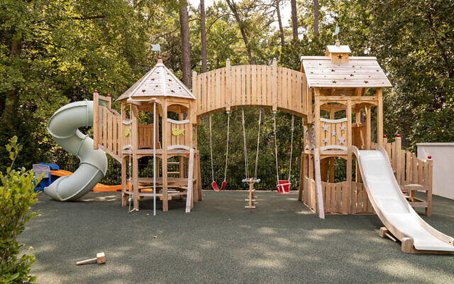The inviting playground is by CedarWorks.