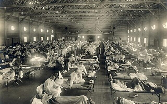 Soldiers from Fort Riley, Kansas, ill with the Spanish flu. The pandemic was reported to have first appeared there and spread easily among other training camps during World War I, according to The Breman Museum archives.