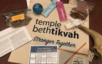 Temple Beth Tikvah tote bag of holiday gifts delivered to congregants.