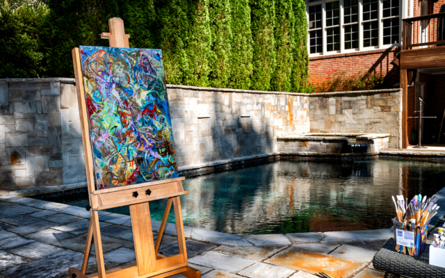 Duane Stork // Printz often paints en plein air alongside their pool and private view of the Chattahoochee River national park.