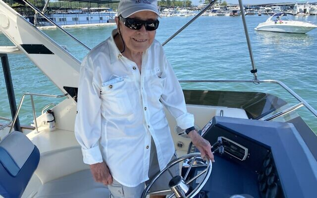 When he's not walking or working out, Morris Habif can be found on the lake on his luxury boat.