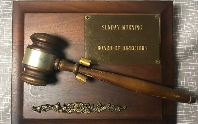 Sunday morning Breakfast Club Board of Directors had their own gavel. The Jewish Breakfast Club was relaunched in 2017 after a 16-year hiatus.