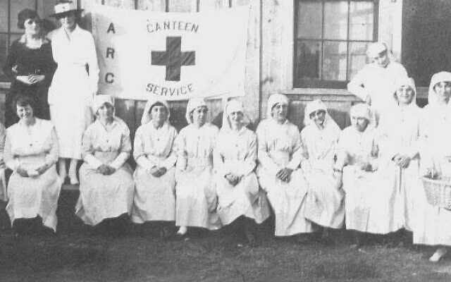Rabbi David Marx Family Papers // Eleanor Rosenfeld (Marx), sixth from left, seated, in the American Red Cross-Atlanta chapter in World War I.