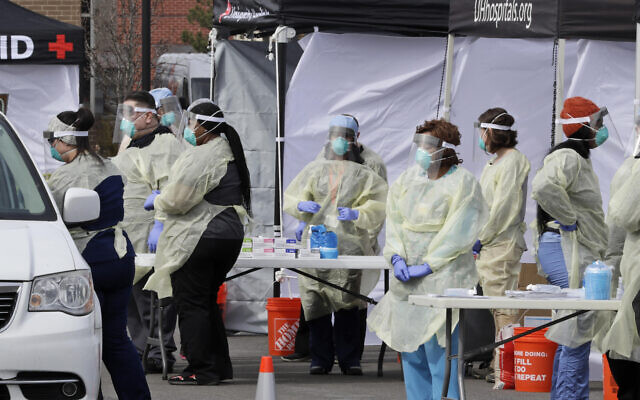 Tony Dejak, Associated Press // Testing for COVID-19 in Ohio in mid-March.