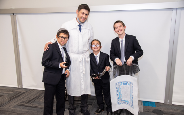 Danny with his sons Avi (with the ring), Asher (with the shofar), and Yaakov (with the ketubah).