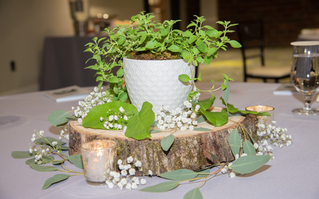 For centerpieces, Jennifer chose to bring in nature with herbs and succulents by husband-wife team Laurens Floral Art.