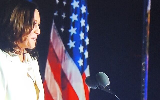 Kamala Harris, whose husband is Jewish and who will be the first female, African American and Asian American vice president, speaks before Biden takes the stage.