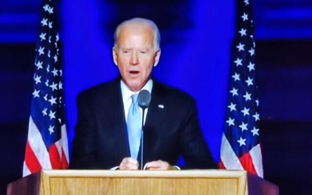 Biden give his victory speech his home town of Wilmington, Delaware,