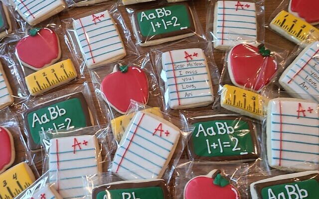 End of school teacher thank you cookies that can have an edible message on them.