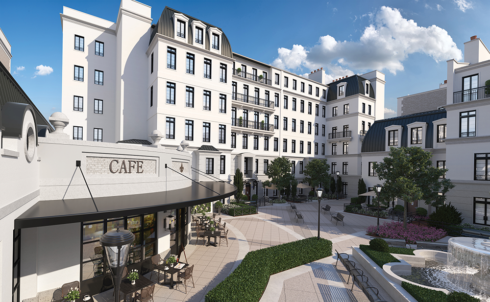 Courtyards wind through architecturally crafted Parisian-like streets.